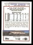 1992 Topps #127  Pepper Johnson  Back Thumbnail