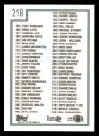 1992 Topps #218   Checklist 111-220 Back Thumbnail