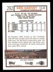 1992 Topps #292  Ken Harvey  Back Thumbnail