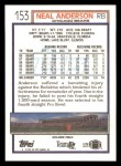 1992 Topps #153  Neal Anderson  Back Thumbnail