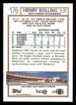 1992 Topps #176  Henry Rolling  Back Thumbnail