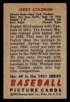 1951 Bowman #49  Jerry Coleman  Back Thumbnail