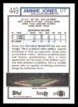 1992 Topps #449  Jimmie Jones  Back Thumbnail