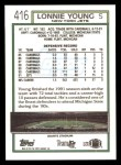 1992 Topps #416  Lonnie Young  Back Thumbnail