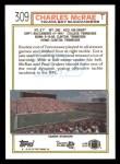1992 Topps #309  Charles McRae  Back Thumbnail