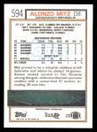1992 Topps #594  Alonzo Mitz  Back Thumbnail
