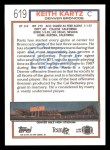 1992 Topps #619  Keith Kartz  Back Thumbnail
