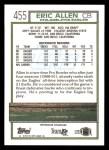 1992 Topps #455  Eric Allen  Back Thumbnail