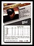 1993 Topps #397  Eddie Anderson  Back Thumbnail
