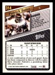 1993 Topps #314  Patrick Bates  Back Thumbnail