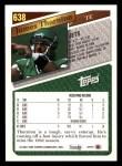 1993 Topps #638  James Thornton  Back Thumbnail
