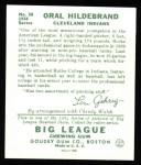 1934 Goudey Reprint #38  Oral Hildebrand  Back Thumbnail