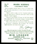 1934 Goudey Reprint #56  Mark Koenig  Back Thumbnail