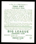 1934 Goudey Reprint #8  Tony Piet  Back Thumbnail
