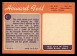 1970 Topps #211  Howard Fest  Back Thumbnail