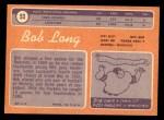 1970 Topps #53  Bob Long  Back Thumbnail