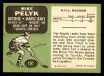 1970 Topps #107  Mike Pelyk  Back Thumbnail