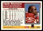 1995 Topps #333  Clyde Simmons  Back Thumbnail