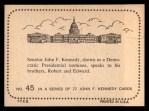 1964 Topps JFK #45   Sen. Kennedy Speaks His Brothers Back Thumbnail