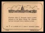 1964 Topps JFK #1   JFK Meets Lyndon Johnson Back Thumbnail
