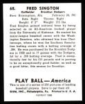 1939 Play Ball Reprint #68  Fred Sington  Back Thumbnail