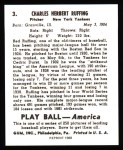1939 Play Ball Reprint #3  Red Ruffing  Back Thumbnail