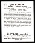 1939 Play Ball Reprint #154  Johnny Hudson  Back Thumbnail