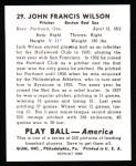 1939 Play Ball Reprint #29  Black Jack Wilson  Back Thumbnail