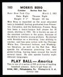 1939 Play Ball Reprint #103  Moe Berg  Back Thumbnail