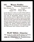 1939 Play Ball Reprint #117  Wayne Ambler  Back Thumbnail