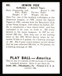 1939 Play Ball Reprint #80  Pete Fox  Back Thumbnail