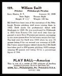 1939 Play Ball Reprint #129  Bill Swift  Back Thumbnail