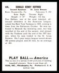 1939 Play Ball Reprint #44  Don Heffner  Back Thumbnail
