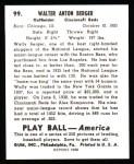 1939 Play Ball Reprint #99  Wally Berger  Back Thumbnail