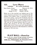 1939 Play Ball Reprint #133  Lynn Myers  Back Thumbnail