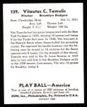 1939 Play Ball Reprint #139  Vito Tamulis  Back Thumbnail