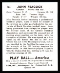 1939 Play Ball Reprint #16  John Peacock  Back Thumbnail