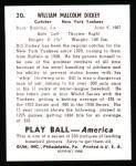 1939 Play Ball Reprint #30  Bill Dickey  Back Thumbnail