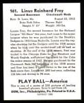 1939 Play Ball Reprint #161  Lonnie Frey   Back Thumbnail