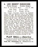 1939 Play Ball Reprint #6  Leo Durocher  Back Thumbnail