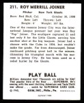 1940 Play Ball Reprint #211  Pop Joiner  Back Thumbnail