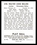 1940 Play Ball Reprint #218  Wally Millies  Back Thumbnail