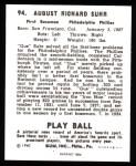 1940 Play Ball Reprint #94  Gus Suhr  Back Thumbnail