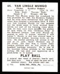 1940 Play Ball Reprint #64  Van Mungo   Back Thumbnail