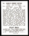 1940 Play Ball Reprint #10  Red Ruffing  Back Thumbnail
