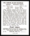 1940 Play Ball Reprint #194  Sam Chapman  Back Thumbnail