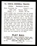1940 Play Ball Reprint #16  Cecil Travis  Back Thumbnail