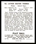 1940 Play Ball Reprint #42  Bud Thomas  Back Thumbnail