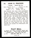 1940 Play Ball Reprint #34  Johnny Peacock  Back Thumbnail