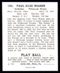 1940 Play Ball Reprint #104  Lloyd Waner  Back Thumbnail